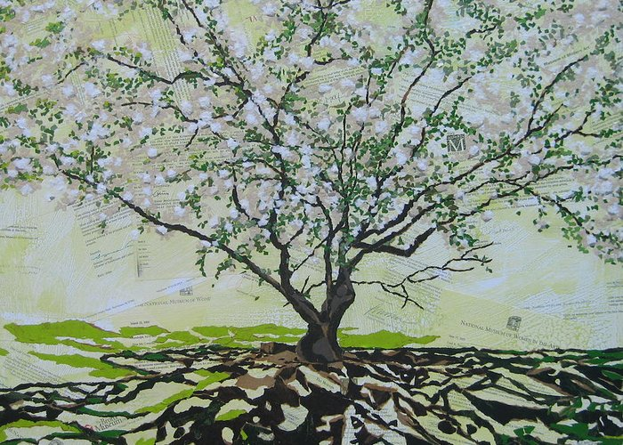 Apple Tree Greeting Card featuring the painting Sincerely-The Curator by Leah Tomaino