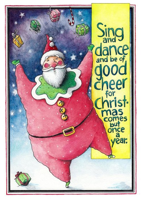 Santa Greeting Card featuring the drawing Sing And Dance Santa by Mark A Hicks