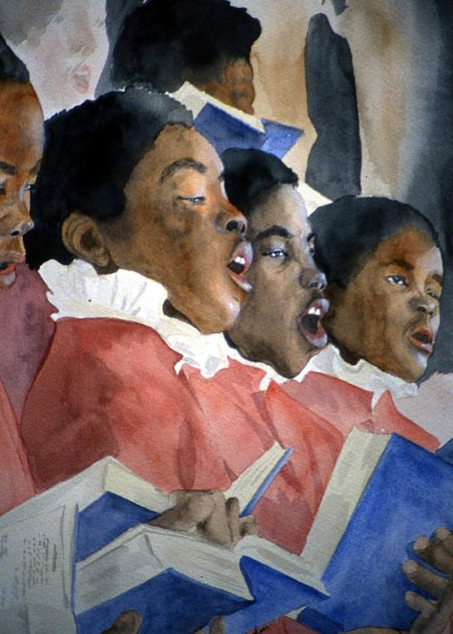 Choir Greeting Card featuring the painting Sing Out Your Joy by Jean Blackmer