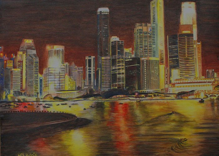 Cityscape Greeting Card featuring the painting Singapore Nights by Nik Helbig