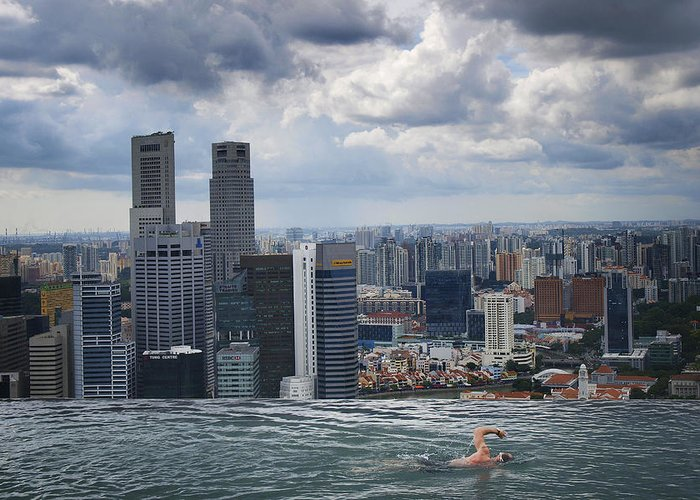 Singapore Greeting Card featuring the photograph Singapore Swimmer by Nina Papiorek