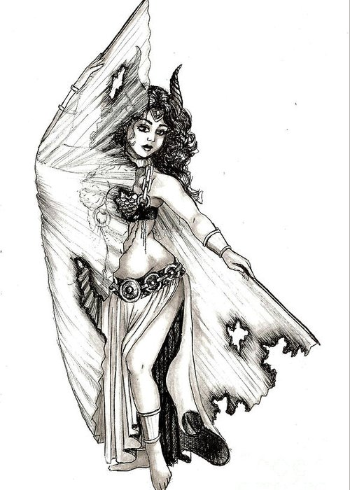 Dancer Greeting Card featuring the drawing Singed Dancer by Scarlett Royal