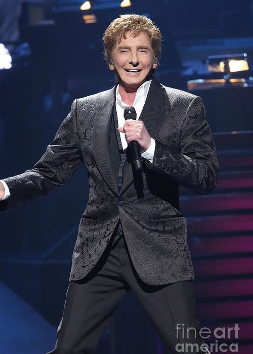 Singer Greeting Card featuring the photograph Singer Barry Manilow by Concert Photos