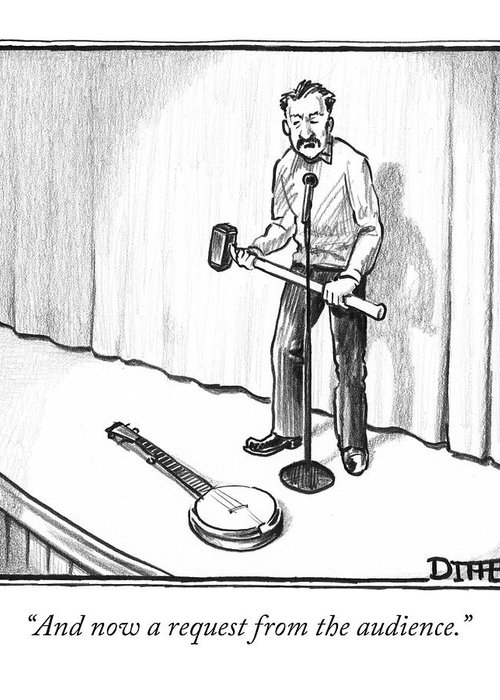 """""""and Now A Request From The Audience."""" Greeting Card featuring the drawing Singer Smashes Banjo by Matthew Diffee"""