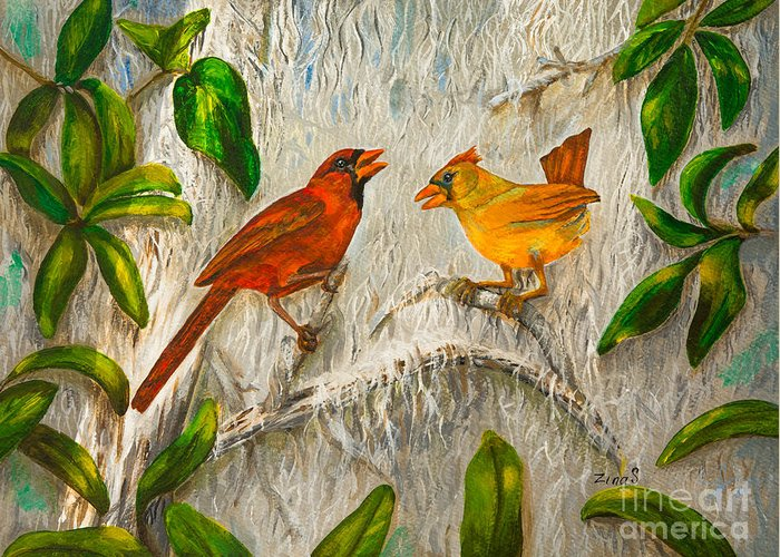 Cardinal Greeting Card featuring the painting Singing Of Love by Zina Stromberg