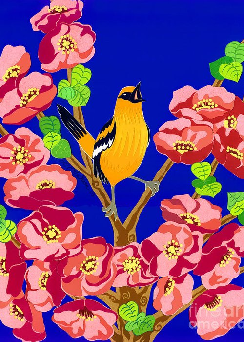 Nature Greeting Card featuring the drawing Singing Oriole by Lucyna A M Green