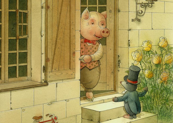 Singer Pig Mole Street Town Roses Animals Greeting Card featuring the painting Singing Piglet by Kestutis Kasparavicius