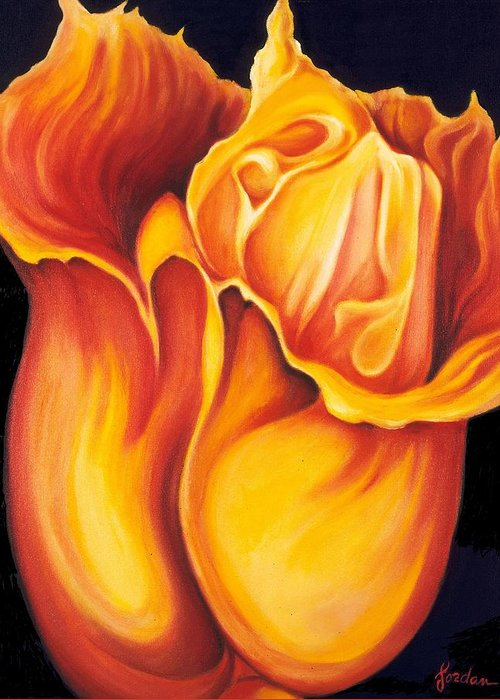 Surreal Tulip Greeting Card featuring the painting Singing Tulip by Jordana Sands