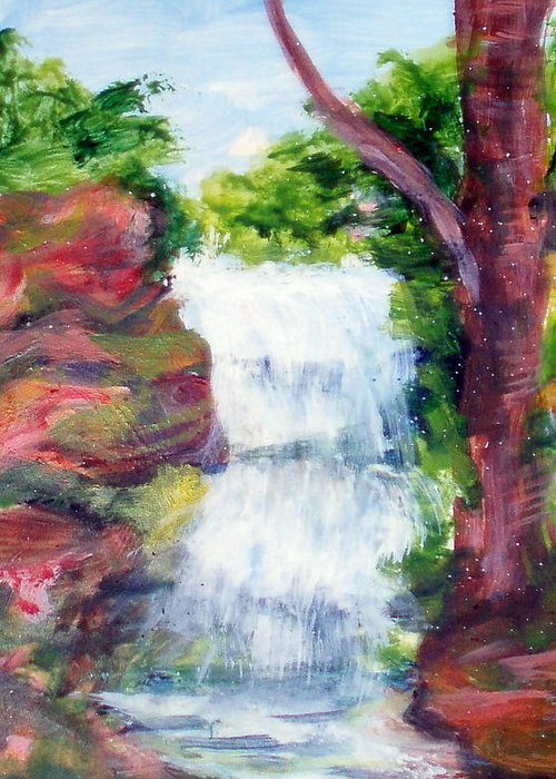 Falling Water Greeting Card featuring the painting Singing Water by Lia Marsman