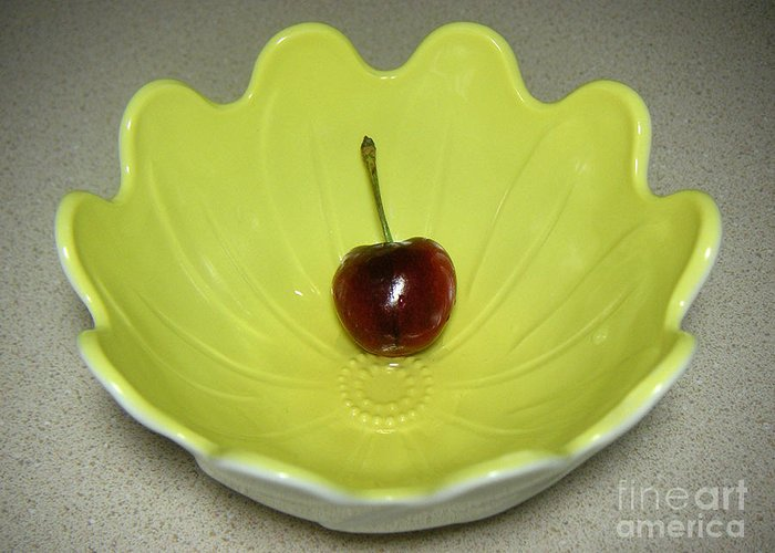 Nature Greeting Card featuring the photograph Single Cherry In A Bowl by Lucyna A M Green