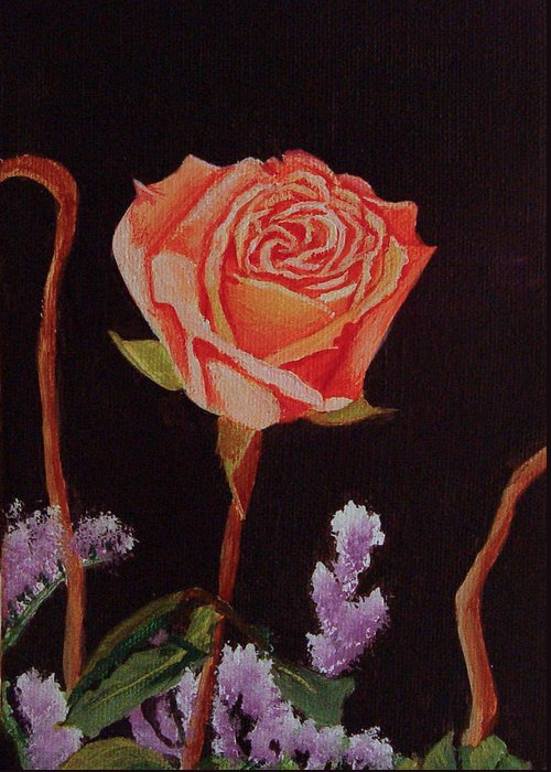 Rose Greeting Card featuring the painting Single Rose by Quwatha Valentine
