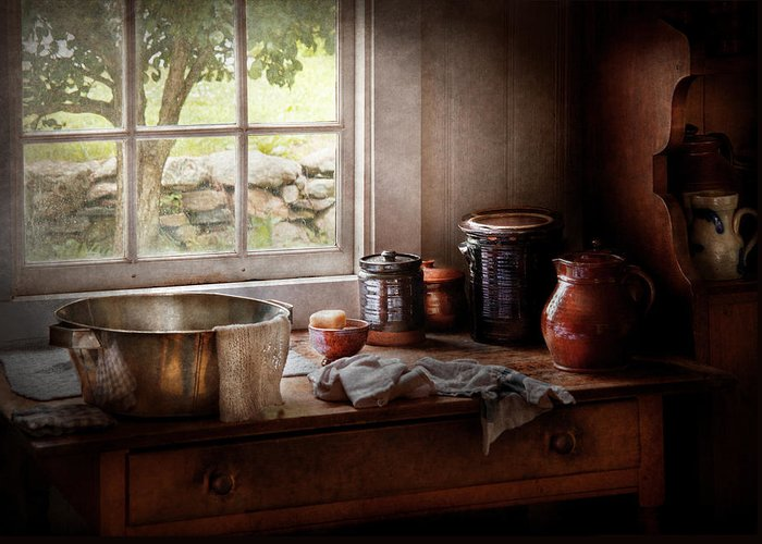 Hdr Greeting Card featuring the photograph Sink - The Morning Chores by Mike Savad