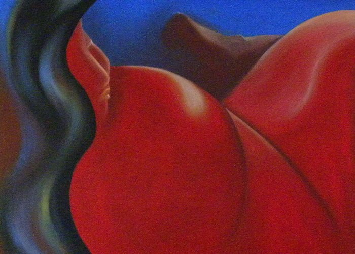 Woman Paintings Greeting Card featuring the painting Sinuous Curves II by Fanny Diaz