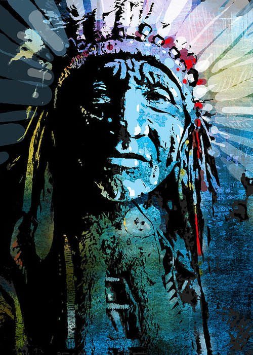 Native American Greeting Card featuring the painting Sioux Chief by Paul Sachtleben