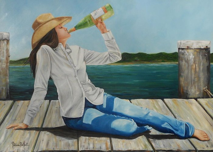 Bay Greeting Card featuring the painting Sippin' On The Dock Of The Bay by Patricia DeHart