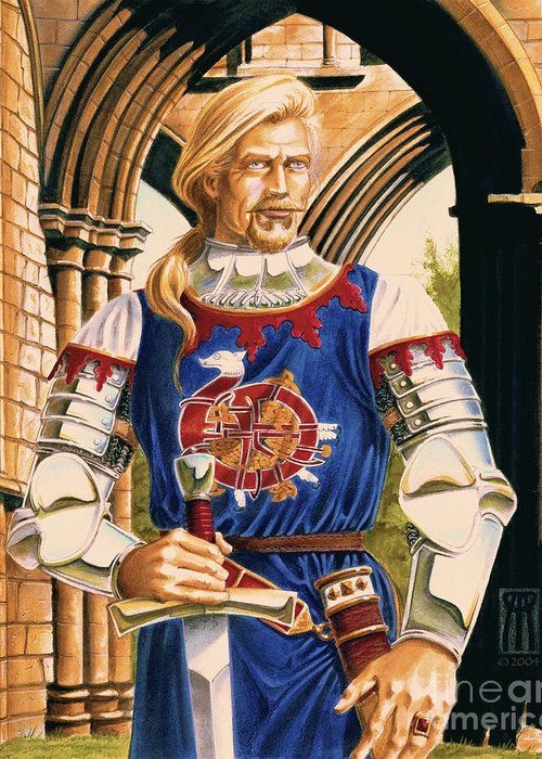 Swords Greeting Card featuring the painting Sir Dinadan by Melissa A Benson