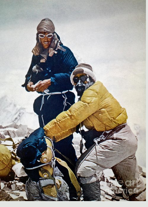 1953 Greeting Card featuring the painting Sir Edmund Hillary by Granger