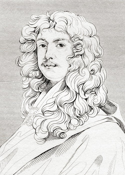 Lely Greeting Card featuring the drawing Sir Peter Lely, 1618 by Vintage Design Pics