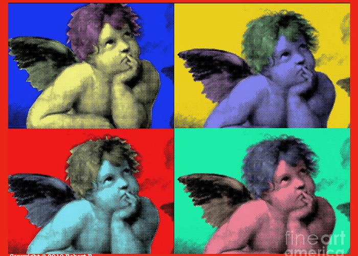 Sisteen Chapel Greeting Card featuring the painting Sisteen Chapel Cherub Angels After Michelangelo After Warhol Robert R Splashy Art Pop Art Prints by Robert R Splashy Art