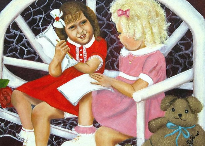 Children Greeting Card featuring the painting Sister Chat by Joni McPherson