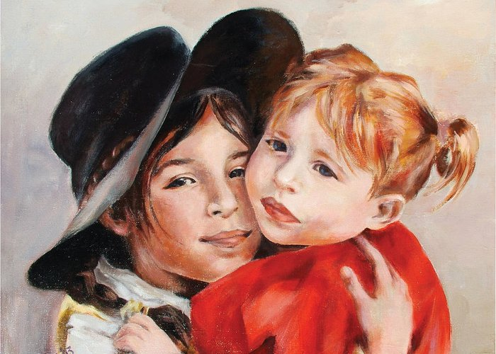 Portrait Greeting Card featuring the painting Sisters by Ekaterina Mortensen