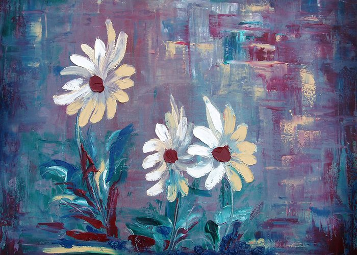 Daisies Greeting Card featuring the painting Sisters by Gina De Gorna