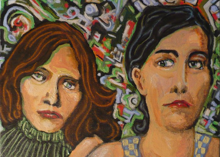 Mixed Greeting Card featuring the painting Sisters In Art by Todd Peterson