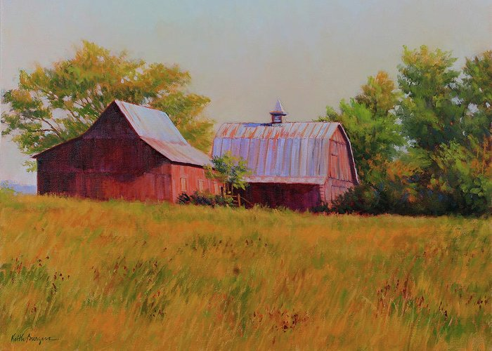 Barns Greeting Card featuring the painting Sisters by Keith Burgess