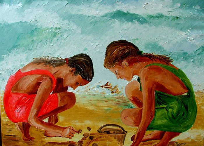 Girls Greeting Card featuring the painting Sisters On The Beach by Inna Montano