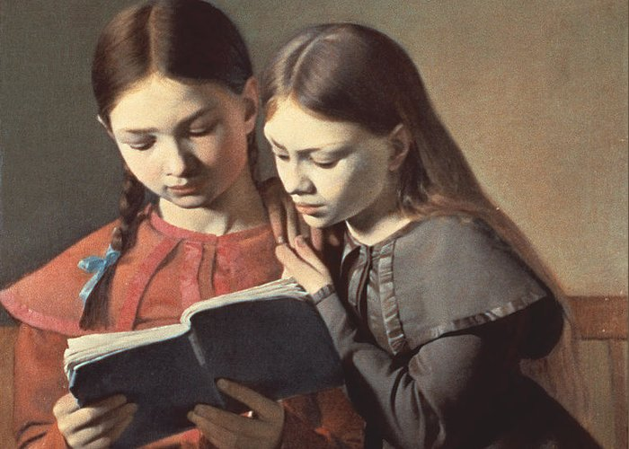 The Greeting Card featuring the painting Sisters Reading A Book by Carl Hansen