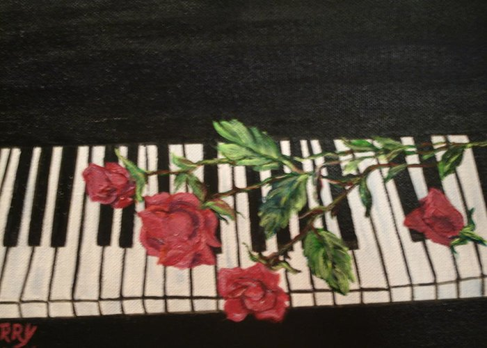 Piano Greeting Card featuring the painting Sisters by Terry Lash