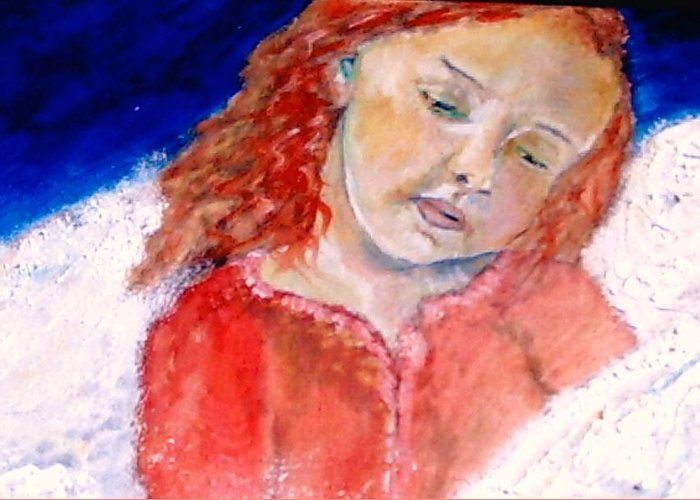 Angels Greeting Card featuring the painting watching the Dreamers by J Bauer