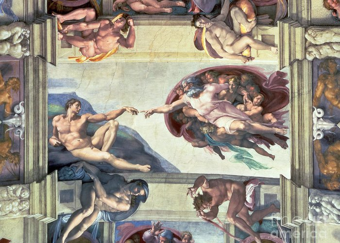 Sistine Greeting Card featuring the painting Sistine Chapel Ceiling Creation Of Adam by Michelangelo