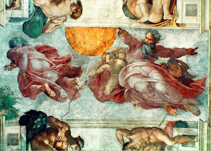 Sistine Greeting Card featuring the painting Sistine Chapel Ceiling Creation Of The Sun And Moon by Michelangelo