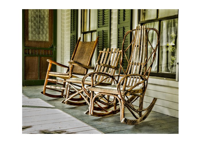 Porch Greeting Card featuring the photograph Sit A Spell by Stephen Stookey