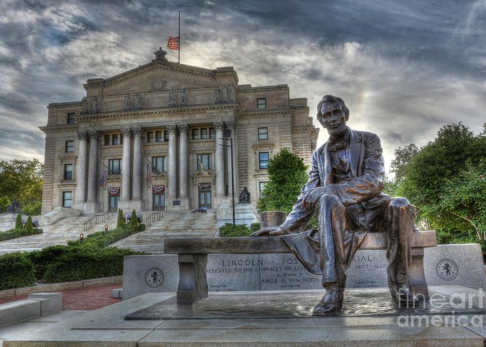Lee Dos Santos Greeting Card featuring the photograph Sit With Me - Seated Lincoln Memorial By Gutzon Borglum by Lee Dos Santos