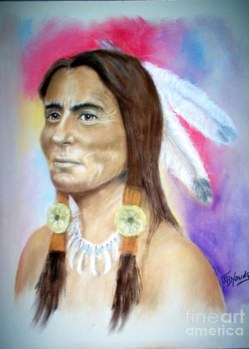 Sitting Bull Greeting Card featuring the pastel Sitting Bull by John De Young