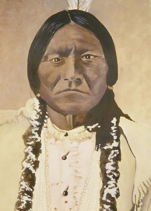 Indian Greeting Card featuring the painting Sitting Bull by Terry Honstead