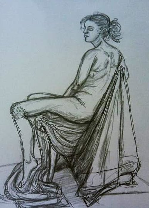 Figure Drawing Greeting Card featuring the drawing Sitting Female Nude by Caroline Lifshey