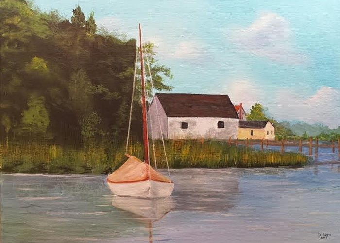 Boat In Harbor Greeting Card featuring the painting Sitting In Still Waters by Douglas Harn