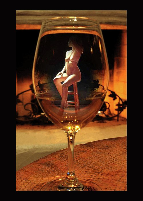 Sitting Nude In Glass. Shirley Anderson Greeting Card featuring the photograph Sitting Nude In Glass by Shirley Anderson