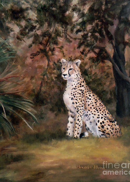 Wildlife Greeting Card featuring the painting Sitting Proud by Brenda Thour