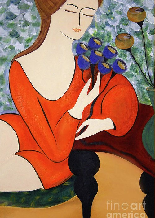 #female #figurative #floral #fineart #art #images #painting #artist #print #canvas #sittingwomen Greeting Card featuring the painting Sitting Women by Jacquelinemari