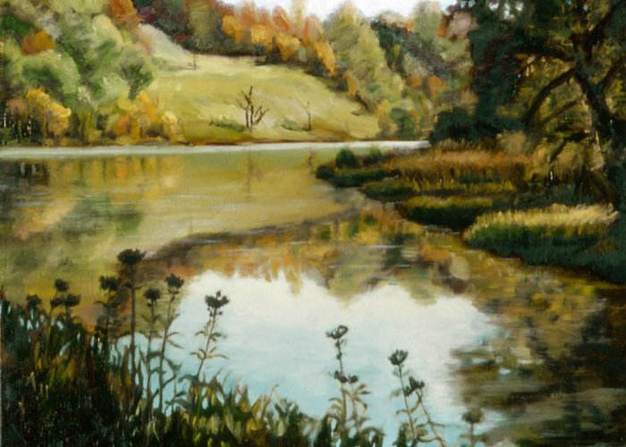 Six Mile Creek Greeting Card featuring the painting Six Mile Creek Ithaca by John Clum