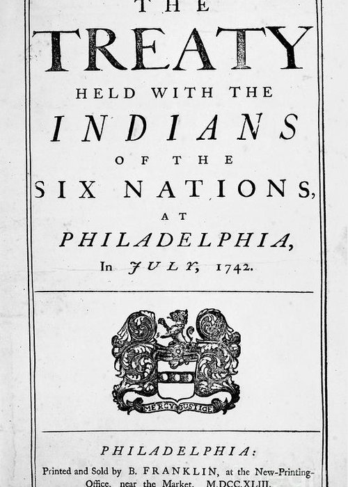 1742 Greeting Card featuring the photograph Six Nations Treaty, 1742 by Granger