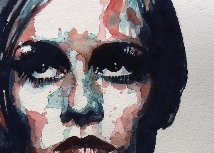 Twiggy Greeting Card featuring the painting Sixties Sixties Sixties Twiggy by Paul Lovering