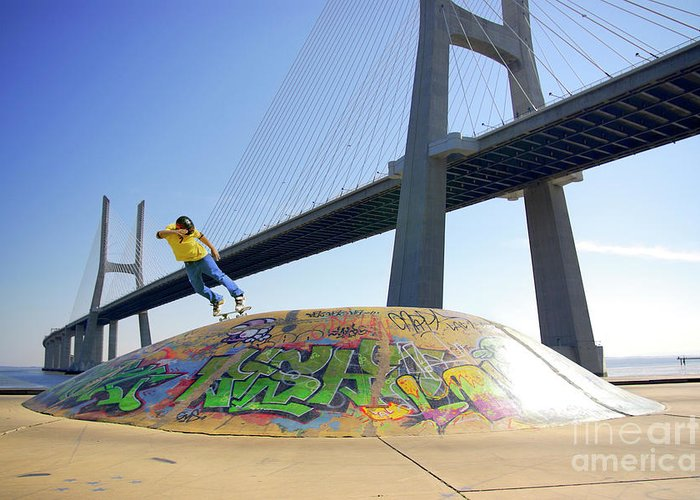 Action Greeting Card featuring the photograph Skate Under Bridge by Carlos Caetano