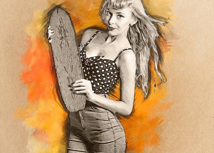 Skateboard Digital Art Greeting Cards