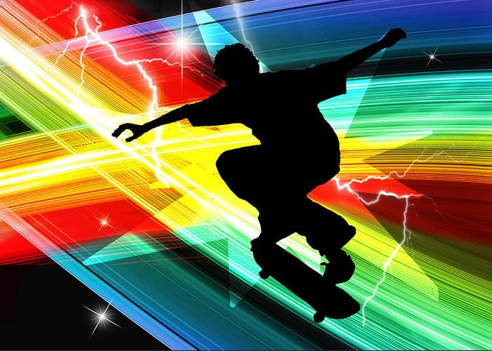 Skateboard Skate+boarding Sports Athletic Stunts Greeting Card featuring the painting Skateboarder In Criss Cross Lightning by Elaine Plesser