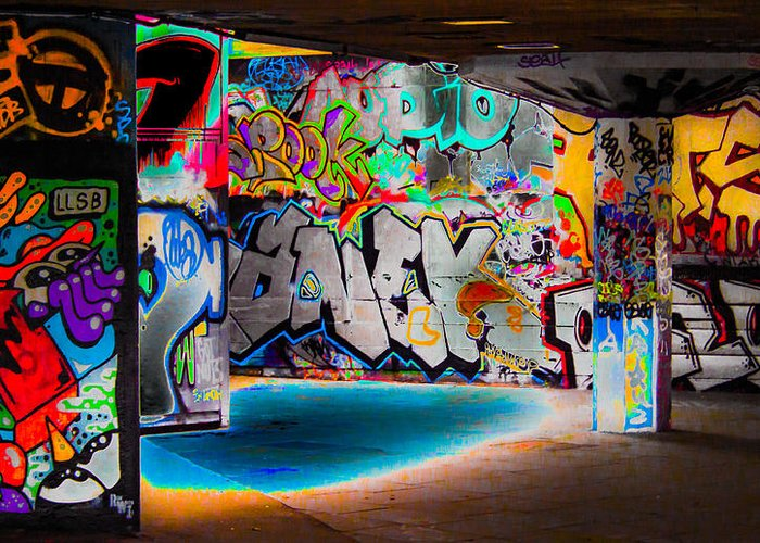 Graffiti Greeting Card featuring the digital art Skatepark Graffiti Southbank 3 by Mo Barton